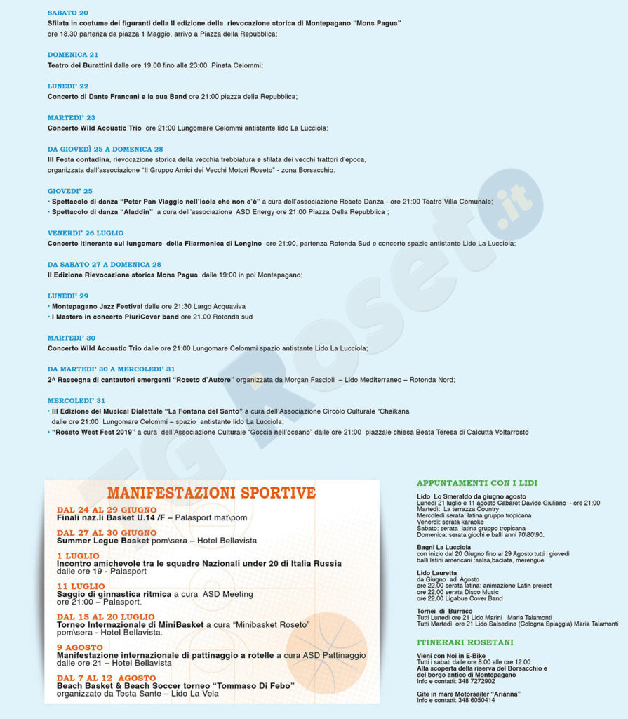 Calendario Manifestazioni Trattori D Epoca.Roseto Calendario Manifestazioni Estive 2019 Tg Roseto
